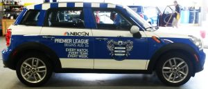 A car wrapped for Barclay Premier League.